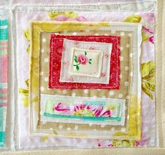 stacked bits and pieces - what a cute way to use up scraps.  Would make a cute pillow too.