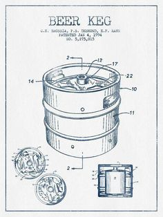 Beer Keg Patent Drawing -  Blue Ink Print By Aged Pixel #patentdrawing #patentartwork