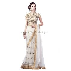 Net Lahenga Saree With Embellished Raw Silk Blouse