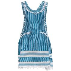 Dodo Bar Or Fatima eyelet-embellished cotton dress ($232) ❤ liked on Polyvore featuring dresses, blue white, fringe dress, lace front dress, eyelet dresses, loose fitting dresses and print dresses