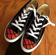 Black converse with orange and black crystals to make basketball toes Follow more on Instagram@firewifemay Bling Converse, Converse Style, Black Crystals, Chuck Taylor Sneakers, Formal Wear, To My Daughter, Basketball, Orange, How To Wear