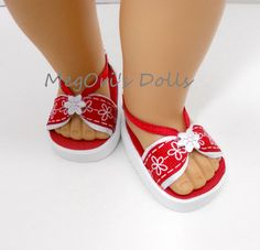 Red and white flower sandals designed for your 18 American Girl dolls! These sandals have elastic loops that gently hug the dolls ankles. These sandals are well constructed with great attention to details and meant to last. As always, they are made in a smoke and pet free environment. For age 5+    Sandals are made with original patterns I created. I am not affiliated with American Girl Company or any 18 doll shoes maker. I can ship these 2 days after cleared payment by 1st Class Mail…