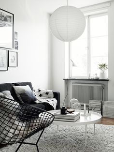 modern white living room with black and gray furniture / my scandinavian home Diy Interior, Living Room Interior, Home Living Room, Living Spaces, Interior Photo, Living Room Inspiration, Interior Design Inspiration, Diy Home Decor, Room Decor