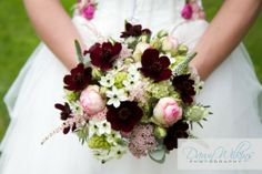 Chocolate scented cosmos in The Wilde Bunch bride's bouquet