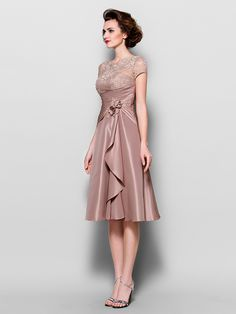 A-line Plus Sizes / Petite Mother of the Bride Dress - Brown Knee-length Short Sleeve Lace / Taffeta - USD $ 109.99