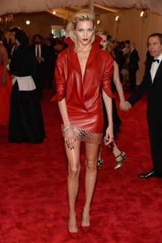 Anja Rubik in Anthony Vaccarello at the 2013 Met Ball