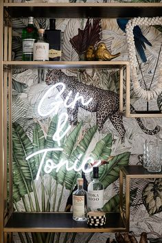 Bar with jungle wallpaper and neon G T sign Home Bar Decor, Bar Cart Decor, Bar Cart Styling, Home Design Decor, Interior Design, Neon Home Decor, Design Design, Canto Bar, Three Birds Renovations