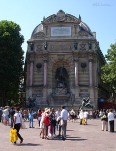 Here you can see the Fountaine Saint Michel from a distance, showing just how large it is compare to the tourists which are passing by and how much work has gone into the sculptures and architecture of the fountain.  More photos to be seen at www.eutouring.com