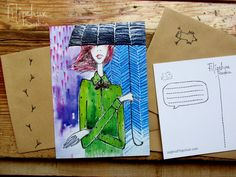 "Items similar to Postcard ""I'm happy again"" on Etsy Happy Again, Im Happy, Rain Illustration, Illustrations, Singing In The Rain, Storytelling, My Arts, Artist, Sketch"