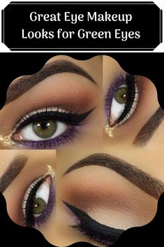 10 Great Eye Makeup Looks for Green Eyes Under Eye Makeup, Black Eye Makeup, Makeup Looks For Green Eyes, Green Makeup, Makeup For Brown Eyes, Makeup Tips, Beauty Makeup, Beauty Tips, Beauty Hacks