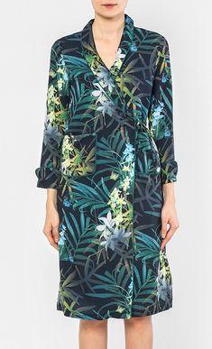 Tropical Print Satin Pyjama Wrap Dress in Green - Dresses - Apparel | FashionValet