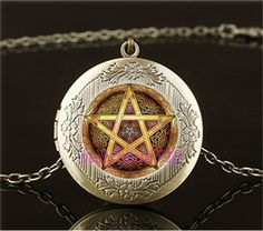 Vintage Celtic Golden Pentacle Cabochon Glass Brass Locket Pendant Necklace #Handmade #Locket