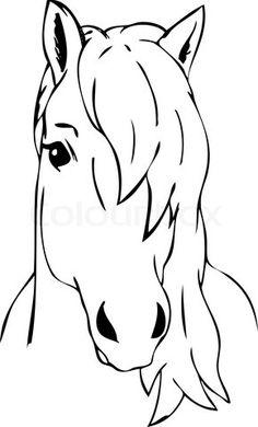 Dessin de tête de cheval à colorier - image #1113   Dessin Alexia   Dessin cheval, Tete de ...