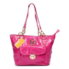 how much does this bags Michael Kors Outlet Chain Large Fuchsia Shoulder Bags