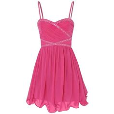 Little Mistress Prom Dress ($28) ❤ liked on Polyvore featuring dresses, vestidos, short dresses, robes, short prom dresses, pink dress, prom dresses, chiffon cocktail dress and chiffon dress