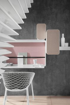 French designer Patrick Norguet has created a hotel interior in Nantes featuring compact rooms with wavy white louvred walls enclosing en suite bathrooms. Room Interior Design, Furniture Design, Home Office, Pastel Interior, Hotel Decor, Deco Design, Design Design, Design Trends, Restaurant Design