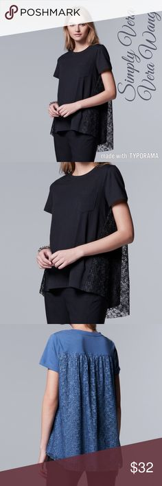 Petite Simply Vera Wang Lace-Back Crewneck Top M Petite Simply Vera Vera Wang Lace-Back Crewneck Top Size M  Product Details  PRODUCT FEATURES High-low hem Crewneck Short sleeves Soft jersey construction  FABRIC & CARE Cotton, modal Machine wash Imported Simply Vera Vera Wang Tops