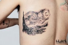 Interesting colorless version of Van Gogh's Starry Night by Fabio Mauro famous painting tattoos