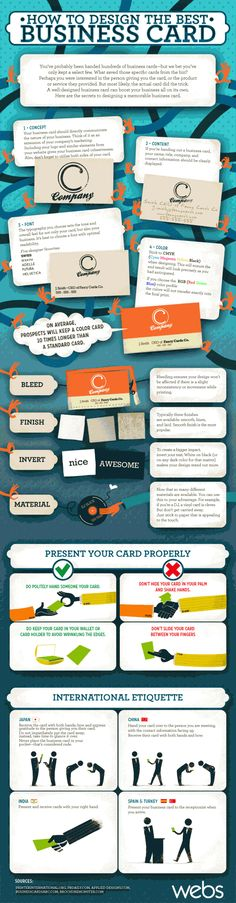 Check out the following tips to help you create memorable business card, understand how to properly present your card, and a few basic international etiquette tips to help you avoid a few known faux pas.