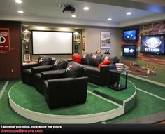 Sport Theme Man Cave Ideas With Home Theater Seating And Lcd Tvs And Projector And Recessed Lighting , Awesome Man Cave Ideas In Home Design and Decor Category