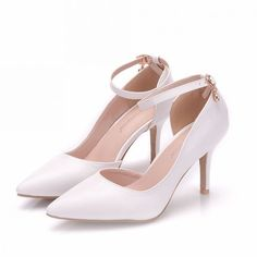 1eb54872b0b Modest   Simple White Office Womens Shoes 2018 Ankle Strap 8 cm Stiletto Heels  Pointed Toe High Heels