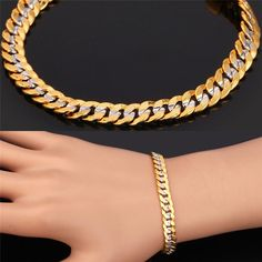 Two Tone Gold Bracelet Stamp Real Gold Plated Men Jewelry 2015 New Trendy 6 MM 21 CM Cuban Chain Bracelet Wholesale Bracelets For Men, Fashion Bracelets, Fashion Jewelry, Men's Jewelry, Jewelery, 9ct Gold Bracelet, Bracelet Men, Vintage Bracelet, Gold Chain Design