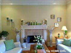Spring Mantle and living room in greens