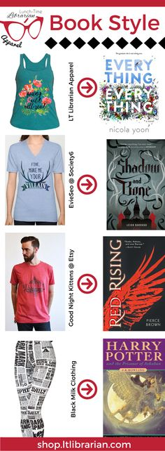 Book style! What clothes are a great fit for these books? Featuring Everything Everything by Nicola Yoon, Shadow and Bone by Leigh Bardugo, Red Rising by Pierce Brown, and Harry Potter and the Prisoner of Azkaban by J.K. Rowling with a mix of shops from Etsy to self-hosted Shopify. LT Librarian Apparel, Black Milk Clothing, Evie Seo, Good Night Kittens. Women's t-shirt, men's t-shirt, women's tank top, women's tights.
