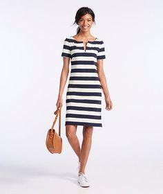 Signature Split-Neck Knit T-Shirt Dress, Stripe
