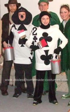 Homemade Playing Cards Costumes: My roommate and I dressed up as the Playing Cards Costumes from Disney's Alice in Wonderland who were 'painting the roses red.' The costumes were really