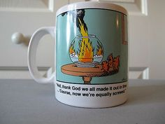 Far Side Fire Goldfish Fishbowl 1988 Gary Larson Cartoon Coffee Tea Mug | eBay
