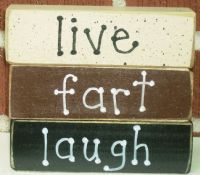 "Live. Fart. Laugh.  Wooden blocks.  Purchased at grandmas-trunk.com  The ""fart"" block reverses to ""love"" for those necessary times!"