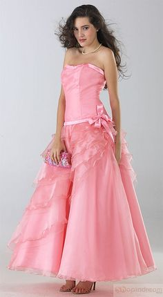 A-line strapless side splitting pink evening dress | Flickr - Photo Sharing!