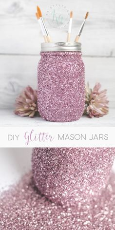 DIY Glitter Mason Jars decor fun glitter diy crafts do it yourself easy mason jars