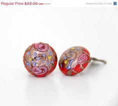 Valentines Day SALE Vintage earrings / Murano glass clip by nemres, $17.60