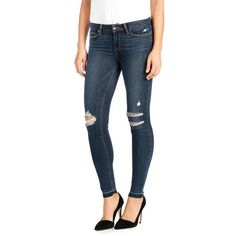 Paige Denim 'Transcend - Verdugo' Destroyed Released Hem Ankle Skinny... ($199) ❤ liked on Polyvore featuring jeans, velma destroyed, ripped skinny jeans, destroyed skinny jeans, distressed jeans, blue ripped jeans and stretch skinny jeans