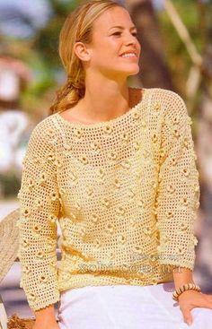 желтый пуловер с цветочным узором