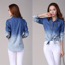 Promotion Retail Womens Denim Button Down Shirt Lape Long Sleeve Gradient Color Jeans Blouse Tops(China (Mainland))