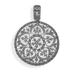 SP-73960--Marcasite Heart Design Pendant Sterling silver marcasite 35mm x 45mm ornate round pendant with cut out   heart designs.   .925 Sterling Silver