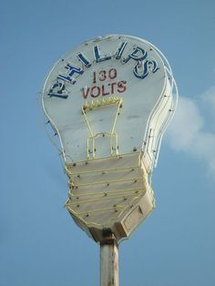 Philips 130 Volts ~ Old Figural Neon Sign   History