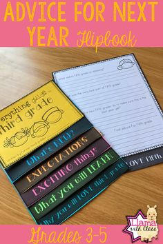 Looking for a fun ideas for the end of the school year? This flip book gives students a chance to reflect on their school year while also giving advice to next year students. Fun alterative to end of the year letter. Students love answering the questions in the flipbook and next year kids will love receiving it. Perfect for third, fourth, or fifth grade. 3rd, 4th, and 5th grade students will love this reflection opportunity.