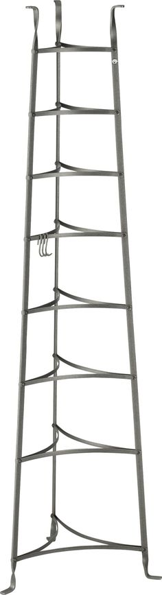 Enclume® Standing 8-Tier Pot Rack  | Crate and Barrel Can we incorporate/make rack shelves on the post at the end of the island?
