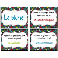 Cartes à tâche - les pluriels Teaching French, Teaching Writing, High School French, Classroom Arrangement, French Grammar, French Phrases, Teachers Corner, French Resources, Grammar And Vocabulary