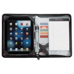 Holds an iPad and also Samsung Galaxy Tablet. Front cover pocket with business card holders. Product Ref: