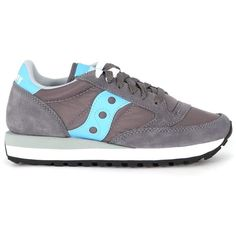 Saucony Jazz Sneaker In Dark Grey Suede And Turquoise Nylon And Suede ($91) ❤ liked on Polyvore featuring shoes, sneakers, grigio, nylon shoes, saucony, saucony shoes, saucony sneakers and saucony trainers