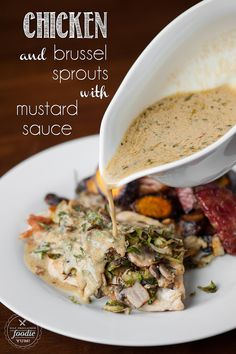 Chicken and Brussel Sprouts with Mustard Sauce is a healthy and low ...
