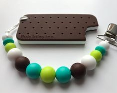 Silicone Pacifier Clip & Ice Cream Sandwich Teether - Soother Clip - Baby Girl / Boy - Binky Clip - Paci Clip - Chew Beads - Summer