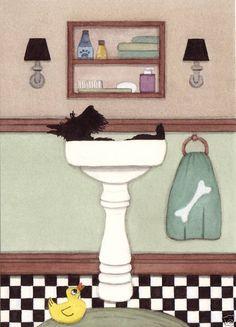 Scottish terrier (scottie) fills sink at bath time / Lynch signed folk art print #folkart