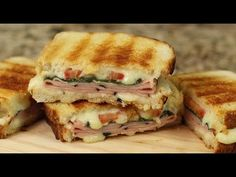 This is no ordinary grilled ham and cheese sandwich. This one has fresh basil, tomato and it's grilled with butter. I'll show you how to cook it so that the . Mexican Food Recipes, Dessert Recipes, Desserts, Grilled Ham And Cheese, Sandwich Bread Recipes, Grilling Sides, Slice Of Bread, Wrap Sandwiches, Sourdough Bread