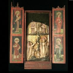 Tabernacle with Panel of the Annunciation and Trinity, c. 1420 - 1450. Alabaster (center panel). English. Courtesy of the Victoria and Albert Museum